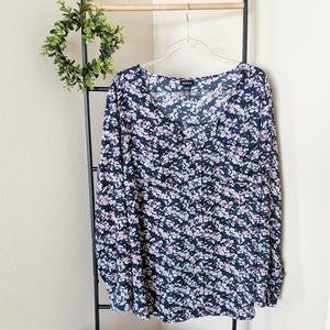 Torrid   Navy Blue Floral Long Sleeve Blouse 3X